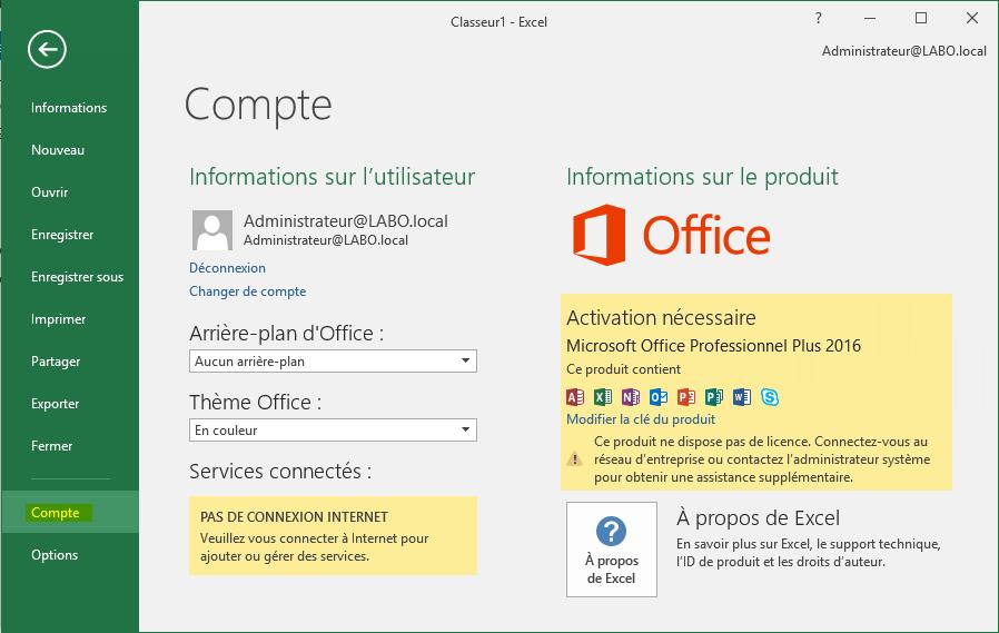 Comment changer la version d'Office?