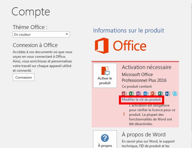 Comment installer Office avec une clé d'activation?