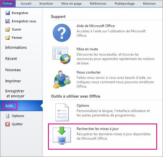 Comment mettre à jour Microsoft Office 2007?