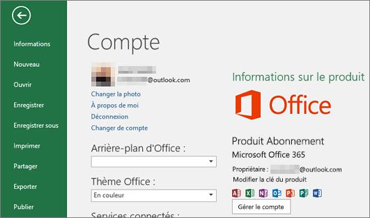 Où se trouve le compte Microsoft?