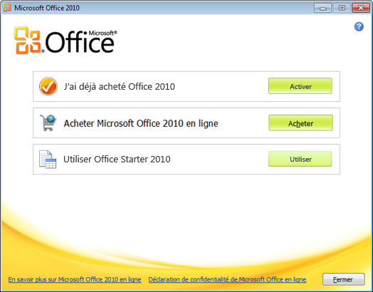 Comment installer Microsoft Office 2010 avec la clé d'activation?