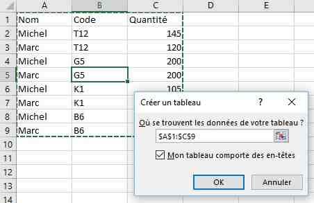 Comment limiter l'affichage du tableau Excel?