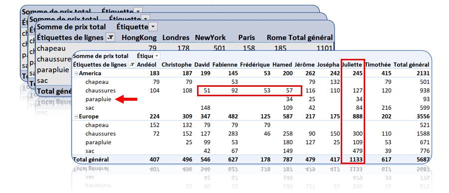 Comment traverser deux tableaux dans Excel?