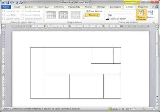 Quel menu est utilisé pour créer un tableau?