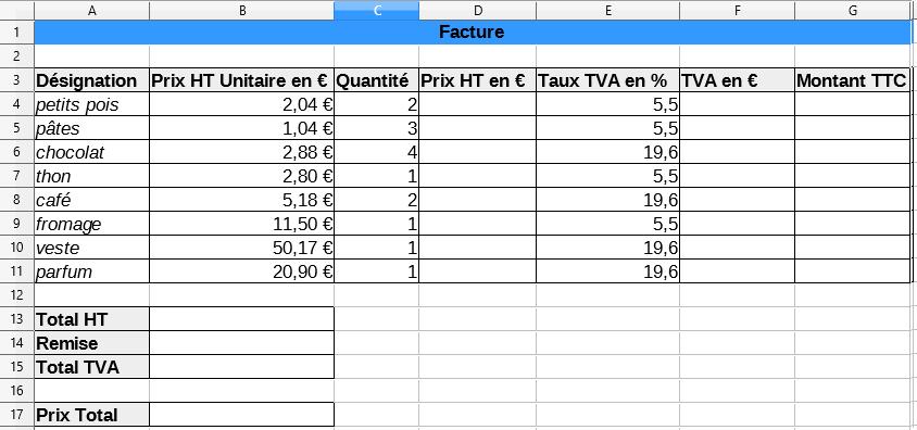 Comment faire un calcul dans un tableur ?